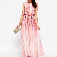 Little Mistress Petite Floral Printed Maxi Dress With Keyhole Back