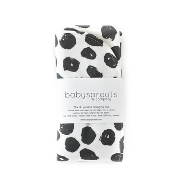 black and white changing mat, waterproof diaper changing mat, changing pad for boys, baby shower gift, travel changing pad, black dots