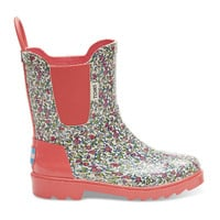 Pink Rubber Ditsy Tiny TOMS Rain Boots