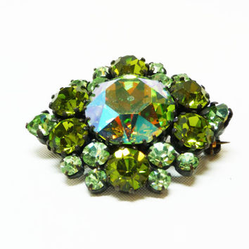 Green Rhinestone Brooch - Vintage Made in Austria Signed Jewelry