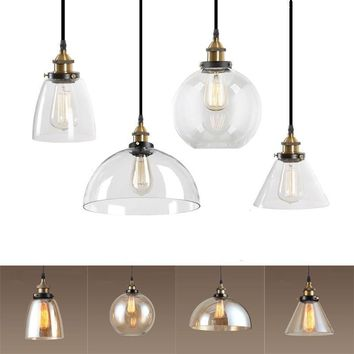 Cava Lighting Modern LED Amber/Clear Glass Shade Pendant Ceiling Light