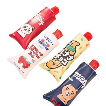 1 pcs Kawaii cute Simulation toothpaste PU Leather Milk bottle Pencil Case Stationery pencil case sharpener school supplies