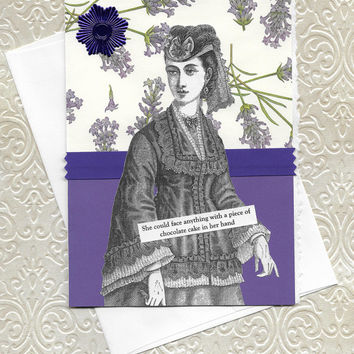 Chocolate Cake Theme Encouragement Get Well Card for Her- Victorian Woman - Let's Eat Cake