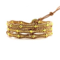 Gold Scalloped Miyuki Glass Sead Beads on Natural Leather Wrap Bracelet