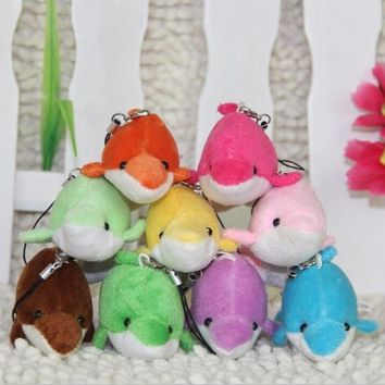 9cmA pack of 10, plush toys, dolls, lovely dolphin Keychain hanging bag, a small doll wedding wedding activities