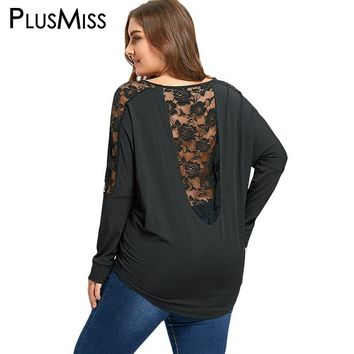 PlusMiss Plus Size 5XL Sexy Open Back Lace Crochet Insert Sheer Blouse Shirt Women Clothing Backless Mesh Blouse Shirt Big Size