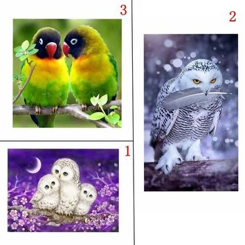 hnin® 5D Square Diamond Mosaic Cross Stitch Kit Diy Diamond Painting Animals Parrot Owl