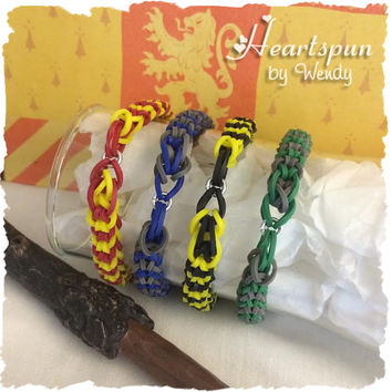 Harry Potter Inspired Stretchy Bracelet for Gryffindor, Ravenclaw, Hufflepuff or Slytherin.  Choose your favorite Hogwarts house color!