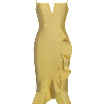 Gloria Mustard Strappy Bandage Dress With Ruffle Design