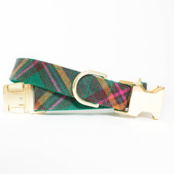 Emerald Plaid Autumn Dog Collar