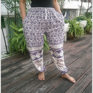 Purple Rope Waist Elephant Pants Baggy Boho Comfy Exotic Style Print Hippie Gypsy Plus Size Rayon Aladdin Clothing Beach Clothing Hipster
