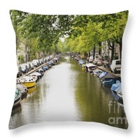 """Amsterdam Canal Throw Pillow for Sale by Ivy Ho - 16"""" x 16"""""""