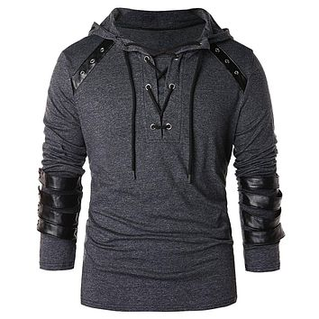 Hemiks Men Lace Up Faux Leather Hoodie Fashion Cool Long Sleeve Hooded Spring Autumn Men'S Pullovers Tops Casual Outwear