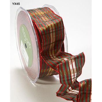 1.5 Inch Christmas Metallic Plaid Ribbon with Wired Edge Red Green and Gold
