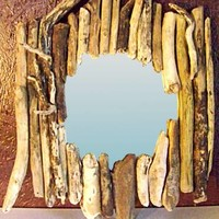 BoGaLeCo.com / Decorative objects / driftwood / Frame / Framed mirror right