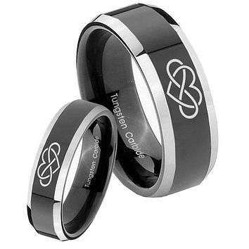His Hers Shiny Black Bevel Infinity Love 2 Tone Tungsten Wedding Rings Set