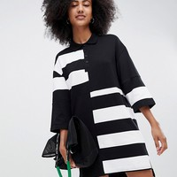 Monki oversized rugby dress in black and white colour block at asos.com