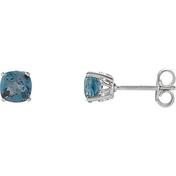 Sterling Silver 5mm Cushion Cut London Blue Topaz Stud Earrings