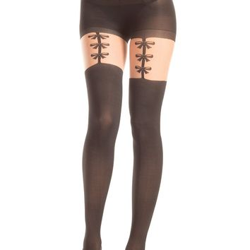 Be Wicked Opaque Pantyhose with Faux Garter