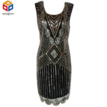 Women 1920s Gatsby Themed Party Dress Vintage Flapper Girl Sequined Beaded Back Deep V Sleeveless Black Backless Autumn Dress