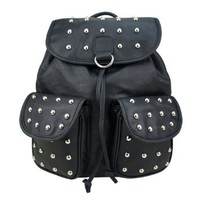ZLYC Unisex Vintage Studded Flap Backpack Campus Bag with Round Studs (black)