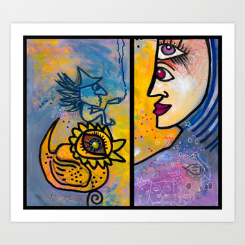 Third Eye Mary appears before the Ducky and his driver Art Print by Amy Chace