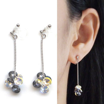 Black Diamond Aurora Borealis Swarovski Crystal Invisible Clip on Earrings, Dangle Swarovski Clip on Earrings, Non Pierced Earrings