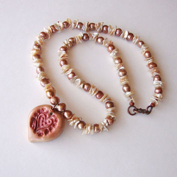 Jewelry Necklace Rose Colored Heart Pendant Coppery Pearls Keshi Accents