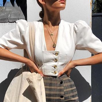DICLOUD Vintage Puff Sleeve Linen Crop Top Fashion Women Blouses Short Sleeve V Neck Sexy White Shirts Female
