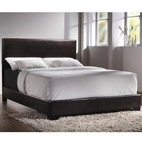 Upholstered Black/Brown Low Profile Queen Size Bed Frame