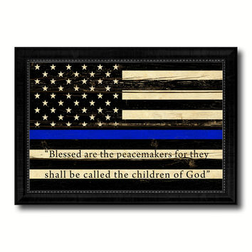 Law Enforcement Thin Blue Line Flag With Mathew 5:9 USA Flag Vintage Canvas Print with Black Picture Frame Home Decor Wall Art Decoration Gift Ideas
