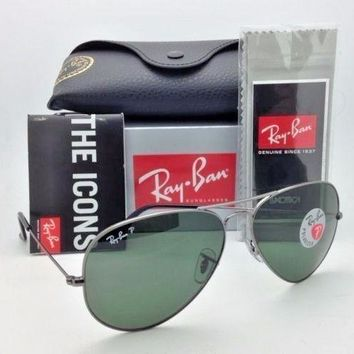Cheap RAY-BAN MEN'S LARGE GUNMETAL POLARIZED AVIATOR RB3025 004/58 G-15 58MM OR 62MM outlet