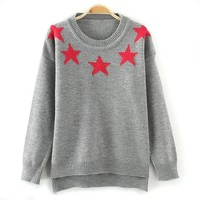 Korean Lady Casual Long Sleeve Autumn Blouse Top Shirt Winter Sweater Pullover (Ligtht Gray)