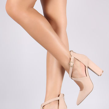 CrissCross Pointy Toe Chunky Heeled Pump | UrbanOG