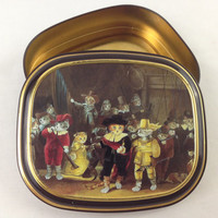 "Vintage Bentley's Of London Cat Tin Susan Herbert The Cats Gallery of Art ""The Night Watch"" Rembrandt Whimsical Cat Tin Box Metal Stash Box"