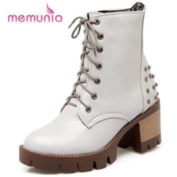 MEMUNIA Motorcycle boots punk high quality lace up rivets solid women boots soft leather square heel round toe winter boots