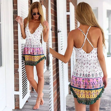 Women Summer Style New Fashion Floral Print Sexy Backless Condole Dress lml-01-0123 = 1956986180