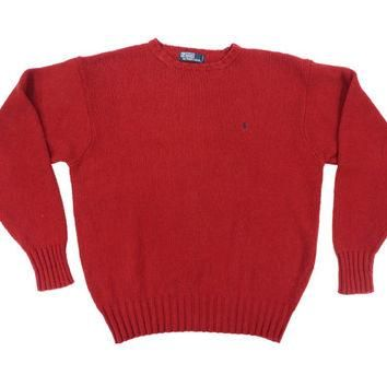 SALE Vintage Red Pullover Sweater - Ralph Lauren Polo Crewneck Knit Ivy League Menswea