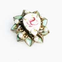 Small Vintage Guilloche and Pearl Rose Pin/ Brooch