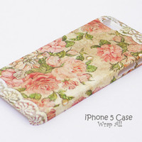 iPhone 5 case  Vintage roses and white lace print  /  by WrapAll