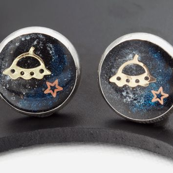 Sci-Fi Galaxy Space Earrings (Rocket, Saturn, UFO, Stainless Steel Posts, 1 Pair)