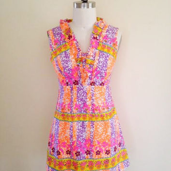 Vintage 1960's 70's, Neon Psychedelic Print Short Dress, Made in Hawaii, Size Small