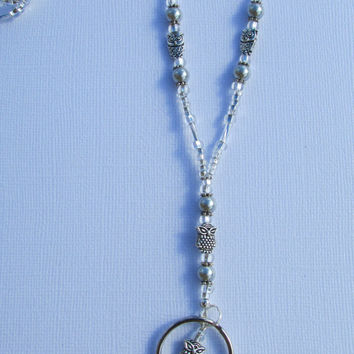 Silver Grey Owl Pearl Beaded Lanyard ID Badge Holder