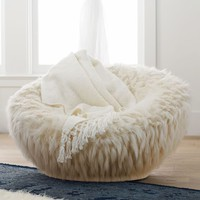 Llama Faux-Fur Groovy Swivel Chair