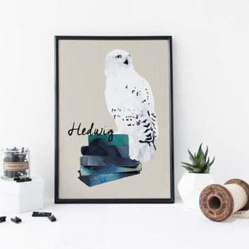 Hedwig Harry Potter art print, watercolor owl, owl art print, hedwig art, animal, bird print, home wall decor, nursery decor, poster, gift