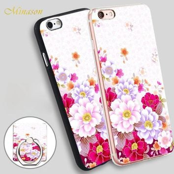 Minason Cute Girl Beautiful Flowers Leopard Mobile Phone Shell Soft TPU Silicone Case Cover for iPhone X 8 5 SE 5S 6 6S 7 Plus