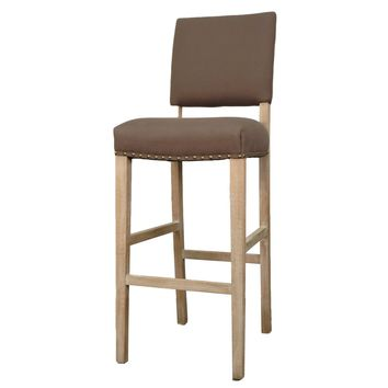 Arthur Fabric Bar Stool Brushed Smoke Legs, Café Mocha