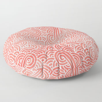 Peach echo and white swirls doodles Floor Pillow by Savousepate