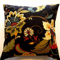 Black Pillow Cover with Flowers 20 x 20Decorator by JeSuisJacki