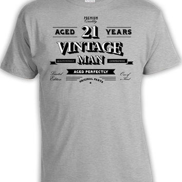 Funny Birthday T Shirt 21st Birthday Gift Ideas For Him Personalized TShirt Custom Age Bday Aged 21 Years Old Vintage Man Mens Tee DAT-800